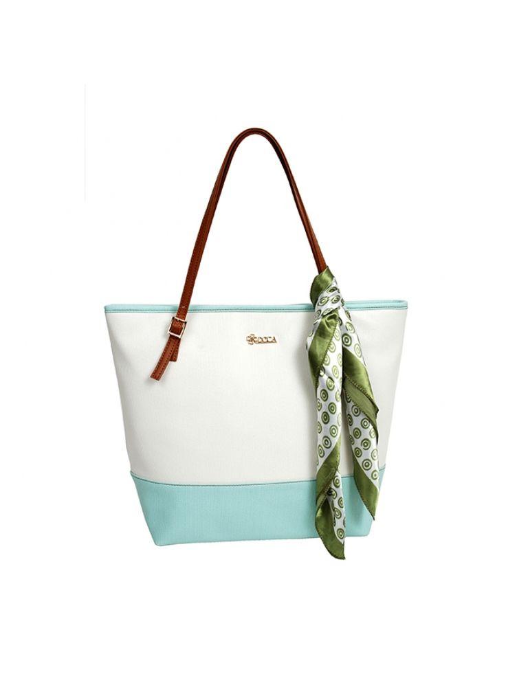 Modro bílá  kabelka DOCA do ruky s šátkem