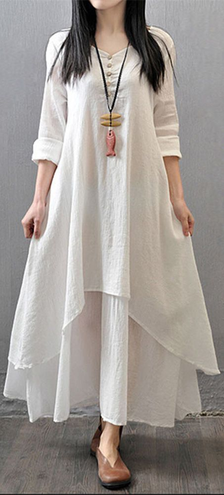 US$24.55 Gracila Vintage Women Long Sleeve V Neck Irregular Maxi Dress