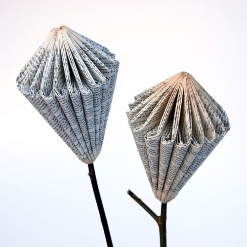 PROTEA FLOWER Stem height up to 60 cm h, flower 12 x 17 cm h Shaw Sisters with Freshly Found. Recycled used books and stems from a development garden