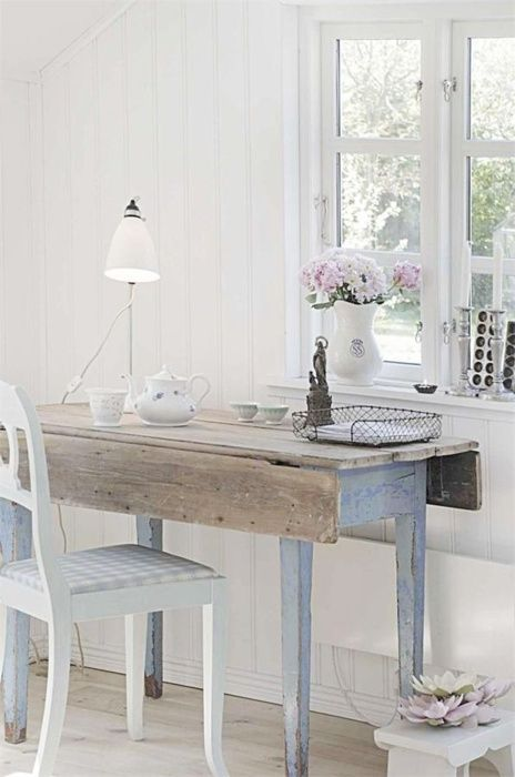 I want to sit at this table and let time crawl slowly to a sunset.White Home Decor, Writing Desks, Desks Area, Drop Leaf Tables, Blue, Offices Spaces, Shabby Chic, Workspaces, Home Offices