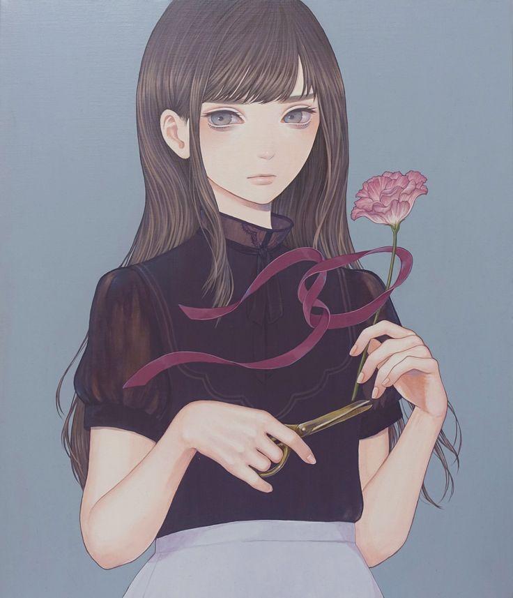 「リボンで装う」 紺野真弓 Mayumi Konno 2015 530x455mm キャンバスにアクリル Acrylic on Canvas