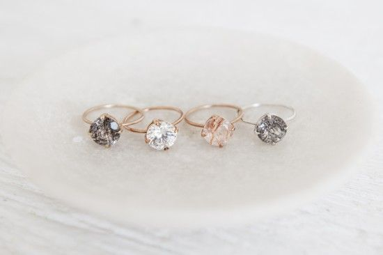 Rose gold quartz rings  with a smokey Quartz $290 .