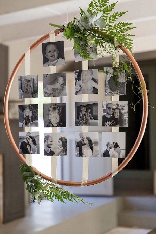Hängende Copper Hoop Fotowand #aislesociety #wedding #weddingphotos #wedding …   – Metallic Wedding Ideas From Aisle Society