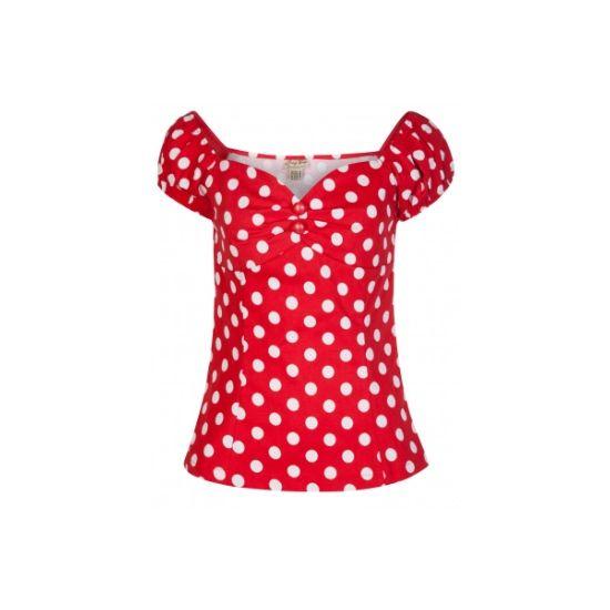 Retro top Lindy Bop Frenchy Red Polka Nádherný červený top s bílým puntíkem. Obléknete ho k sukni, džínám i kraťasům a stále budete TOP, ať budete kdekoli. Vyčaruje vám dokonalý dekolt, ramena trochu spadlá, knoflíčky, po straně krytý zip. Příjemný pružný materiál (97% bavlna, 3% elastan).