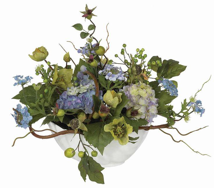 Nearly Natural Hydrangea Centerpiece in Blue & Reviews | Wayfair