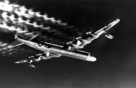 The Convair B-36 was the only aircraft designed to carry theT-12 Cloudmaker, agravity bombweighing 43,600lb (19,800kg) and designed to produce anearthquake bombeffect. It was in fact tested by dropping two of the bombs on a single flight mission, one from 30,000 feet and the second from 40,000 feet, for a total bomb load of 87,200 pounds.