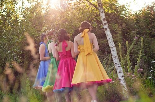 1950s style bridesmaid dresses.  I don't like the colors, but I do like the poofy :-)