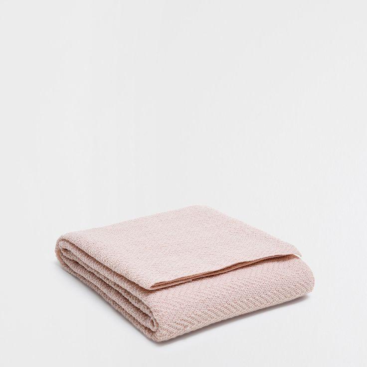 PINK ZIGZAG KNIT BLANKET - Blankets - Bedroom | Zara Home United Kingdom