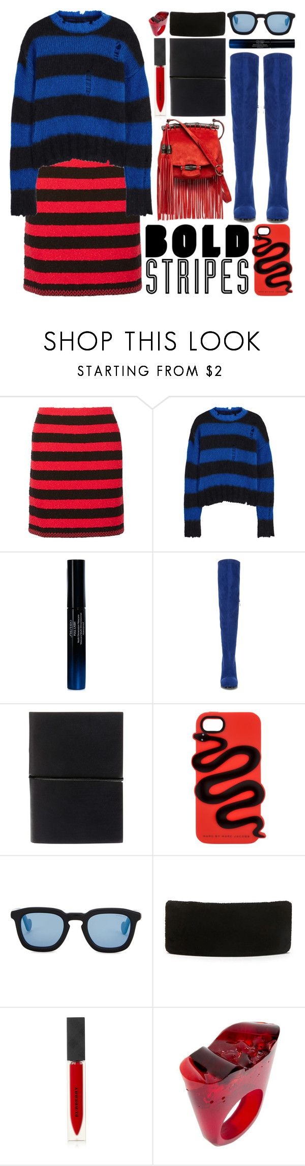 """""""so bold"""" by foundlostme ❤ liked on Polyvore featuring Sonia Rykiel, Filles à papa, Shiseido, Two Lips, Marc by Marc Jacobs, Moncler, Forever 21, Burberry, Pasionae and BoldStripes"""