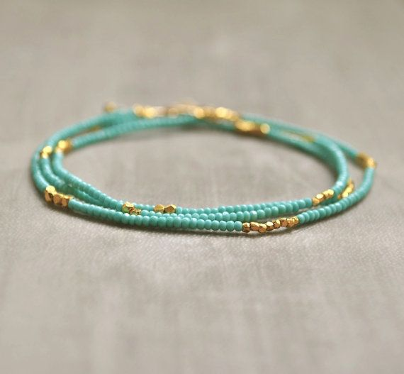 Turquoise Seed Bead Necklace/Bracelet with Gold by FlowDesigns