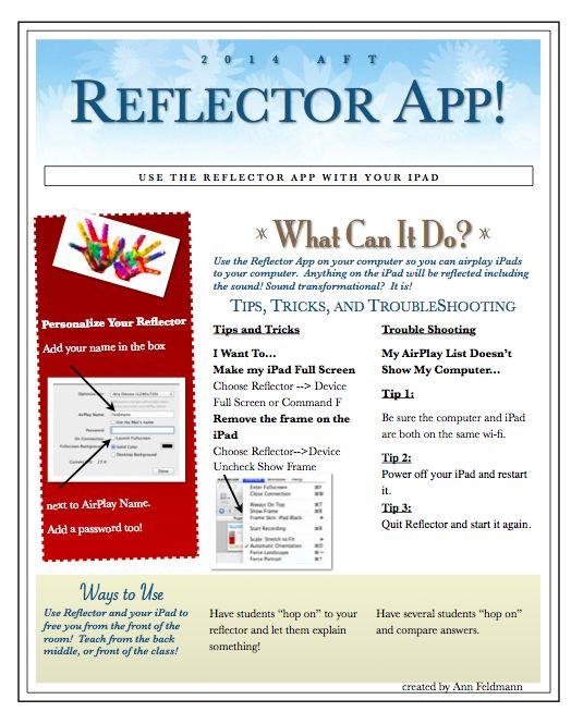 Reflector App + iPads = Transformation! Here is a handout on tips and tricks for Reflector from @annfeldmann1 https://docs.google.com/file/d/0B34Q47bMc_4WZElCWHFFUVBBOGc/edit