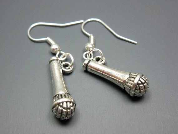 Microphone Earrings  quirky jewelry cute jewelry funny by Szeya, $9.99