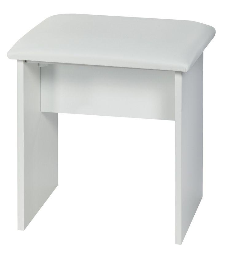 White Gloss Stool For Dressing Table
