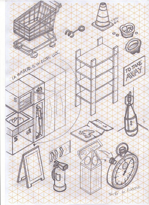 Sketches on a isometric reticle paper! Dont like the lines when im drawin, but in this case the paper helped too much, without the lines would be impossible. I was 2 months just thinking about things you can find in a city, and trying to draw them. :)