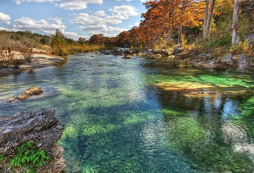 The Emerald pools of the Frio River (HDR). Garner State Park.