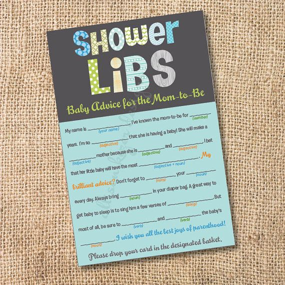 Funky Letters - Boy - Printable Baby Shower Mad Libs Advice for the Mom-to-Be - INSTANT DOWNLOAD