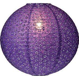 Purple 12 Inch Round Designer Eyelet Paper Lantern