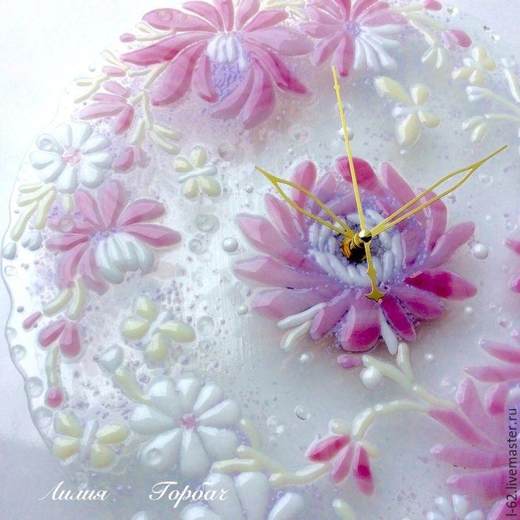 Купить часы из стекла, фьюзинг Розовый букет - бледно-розовый, белый, Фьюзинг, стекло