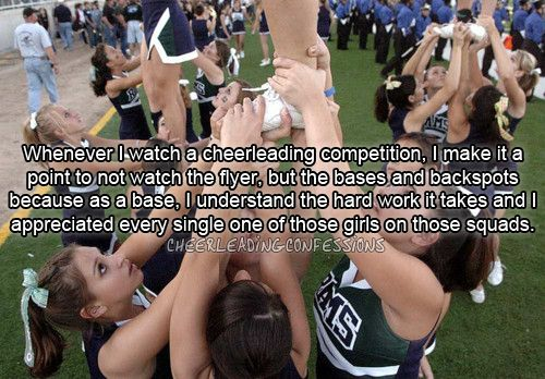 """Cheerleading!  IT'S A SPORT!!  My daughter is a flyer--she's one to be """"looked up to"""".  LOL  Thank goodness for the base teams, without them, there would be no flyers!"""