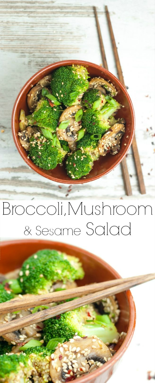 This broccoli, mushroom and sesame salad is like a journey: crunchy broccoli meets soft and buttery mushrooms, then the nuttiness of the sesame hits you which paired with a slight tartness from the vinegar provides a perfect combo, then all of this is to