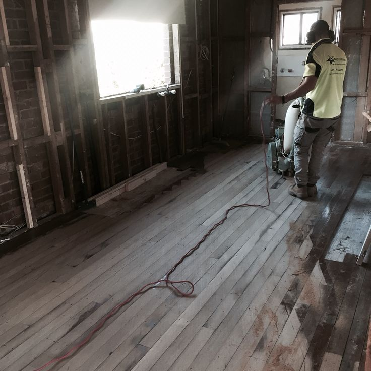 Salvaged tallowood floors circa 1950 being relaid and sanded!