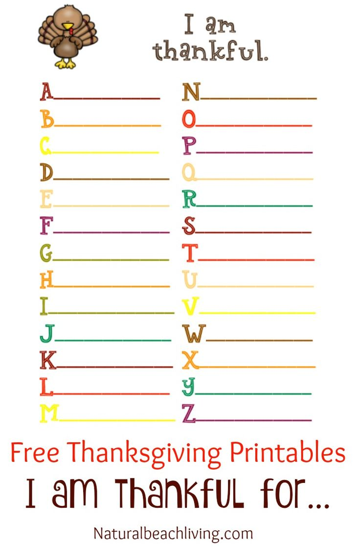 Thanksgiving Coloring and Activity Printables, I am thankful for, Thanksgiving ABC's, Thankful tree, Coloring pages, Free Thanksgiving Printables for Kids