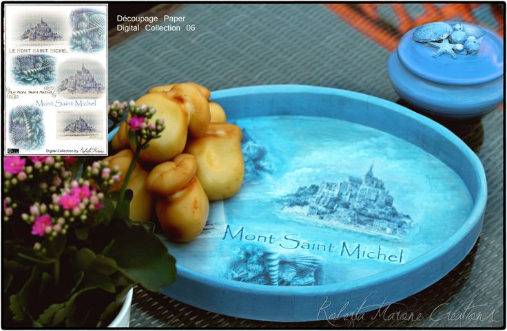 Wood tray decorated with my découpage paper Mont St. Michel