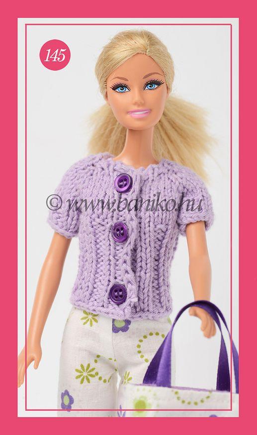 Lila rövid ujjú, kötött Barbie kabátka