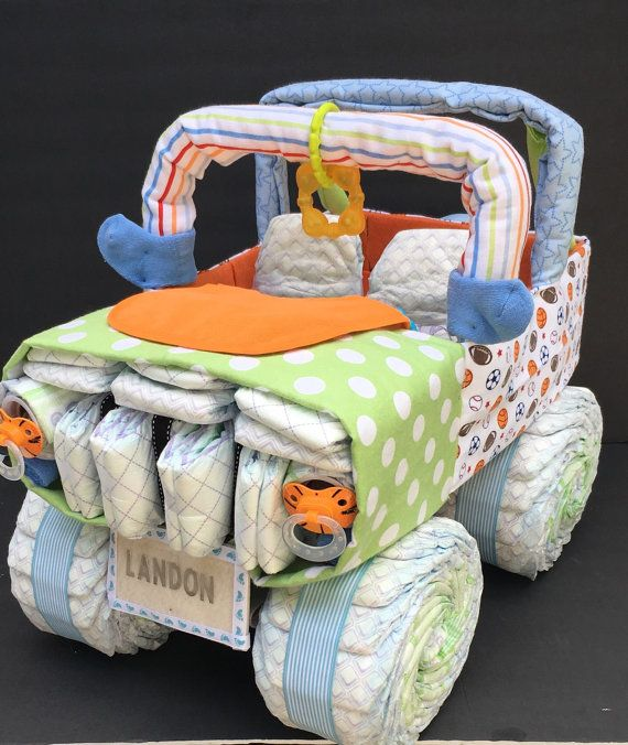 Orange green and blue jeep, jeep diaper cake, unique diaper cake,unique baby gift, diaper centerpiece