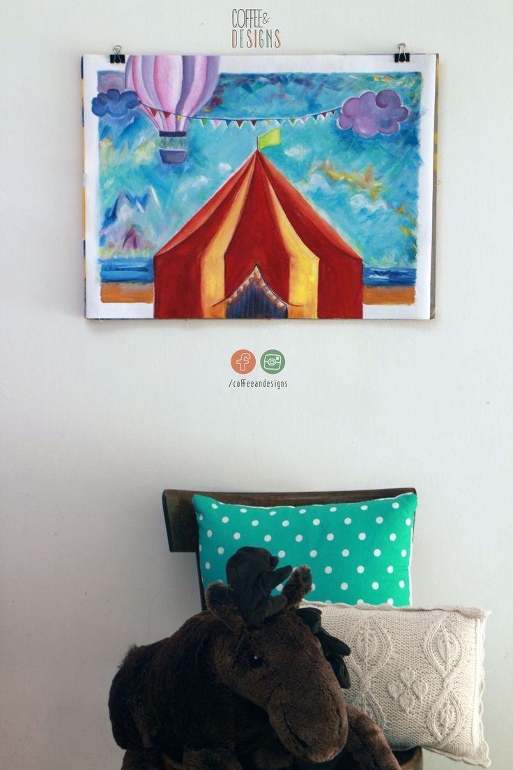 Il circo dei mei sogni   Acrilico su tela   Fatto a mano   Dipinto   Originale   Quadro   Ideale per cameretta   Bambini   Arte   Colorato di coffeeandesigns su Etsy