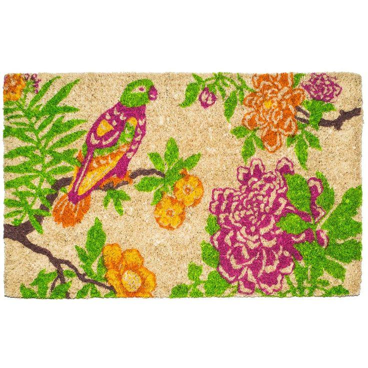 Summer Peony 22 in. x 35 in. Hand Woven Coconut Fiber Door Mat, Pink/Orange/Green/White