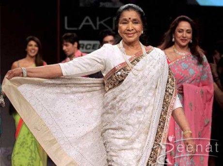 Asha Bhosle In Manish Malhotra Designer Saree