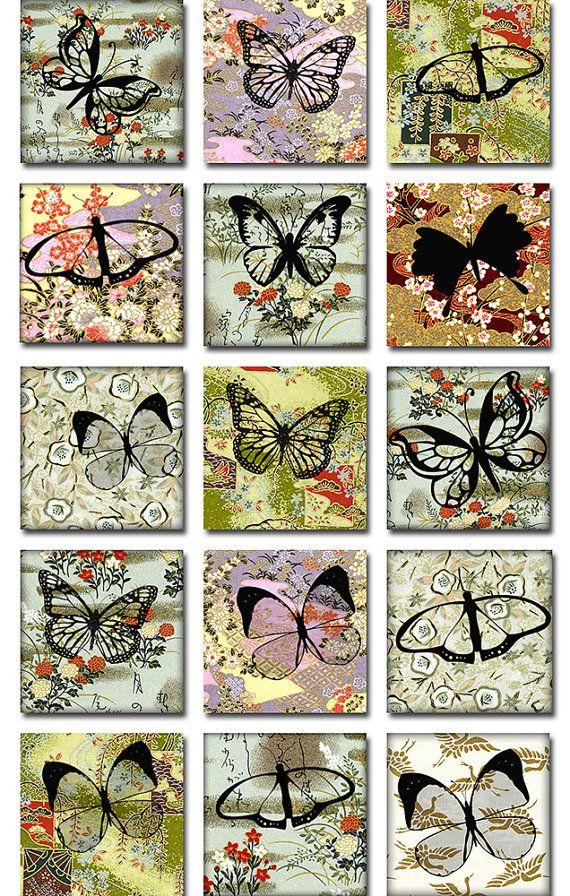 Papillons japonais en papier Washi carré JPEG par pixeltwister