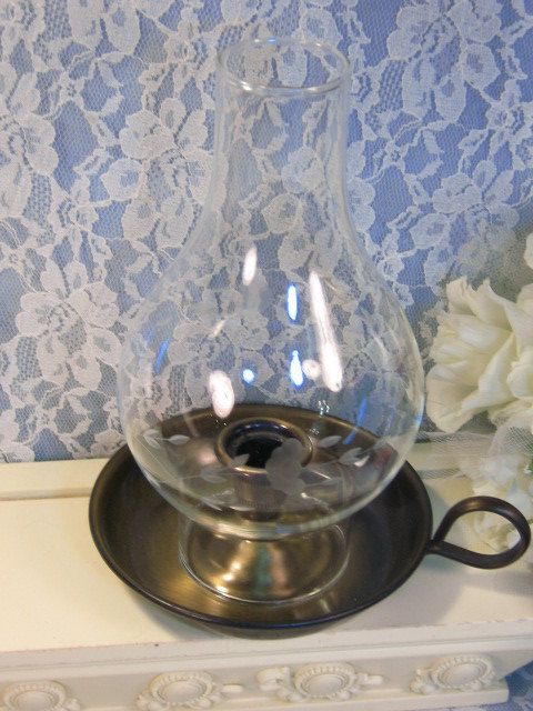 Vintage Princess House Crystal Heritage Brass Chamberstick Candle Lamp,  Etched Floral Glass Dinnerware, Mid Century Home Decor