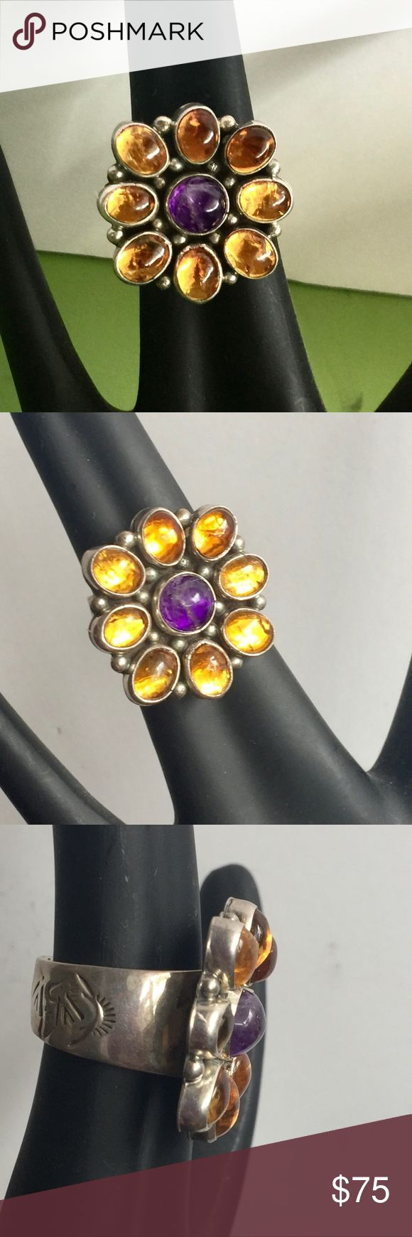 VTG Southwestern Signed BP Sterling Statement Ring Vibrant quality vintage sterling silver cabochon flower cocktail ring - Signed BP Sterling - Solid, well made sterling silver, Native American looking bear claw hand-stamped design on band, bezel set stones that I believe to be a center amethyst cabochon and 8 surrounding citrine glass cabochon petals - The ring is adjustable - About 14 grams - Very good pre-owned vintage condition - Please note, i am unsure if these are genuine gemstones or…