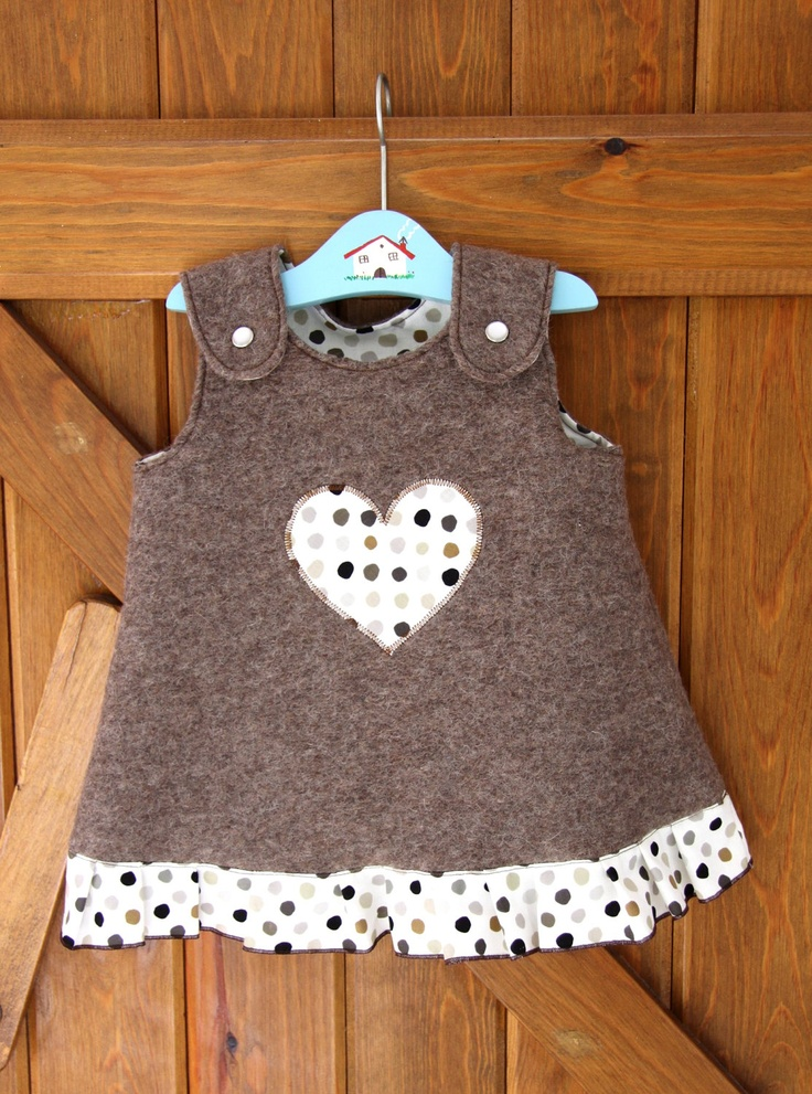 BABY GIRL DRESS - natural wool. $35,00