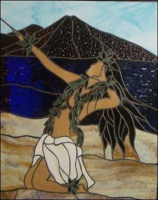 "kim taylor reece hula | Marylee Leialoha Colucci's stained-glass piece, ""Nohe,""."