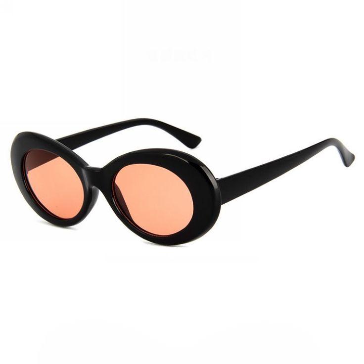 Mod-Inspired Oval Frame Acetate Sunglasses Polished Black/Transparent Red