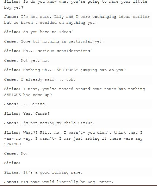 Sirius:I don't- I'm not- I'm sorry. I'm just failing to see the issue here. The Marauders - James and Sirius