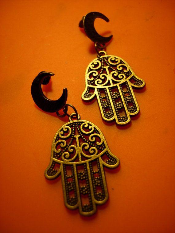 New Moon  art brass moon earrings with fatima's hands by eltsamp, $25.00