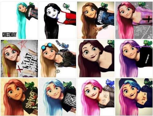Group of: Rapunzel emo disney cute girls princess blue pink hair ...