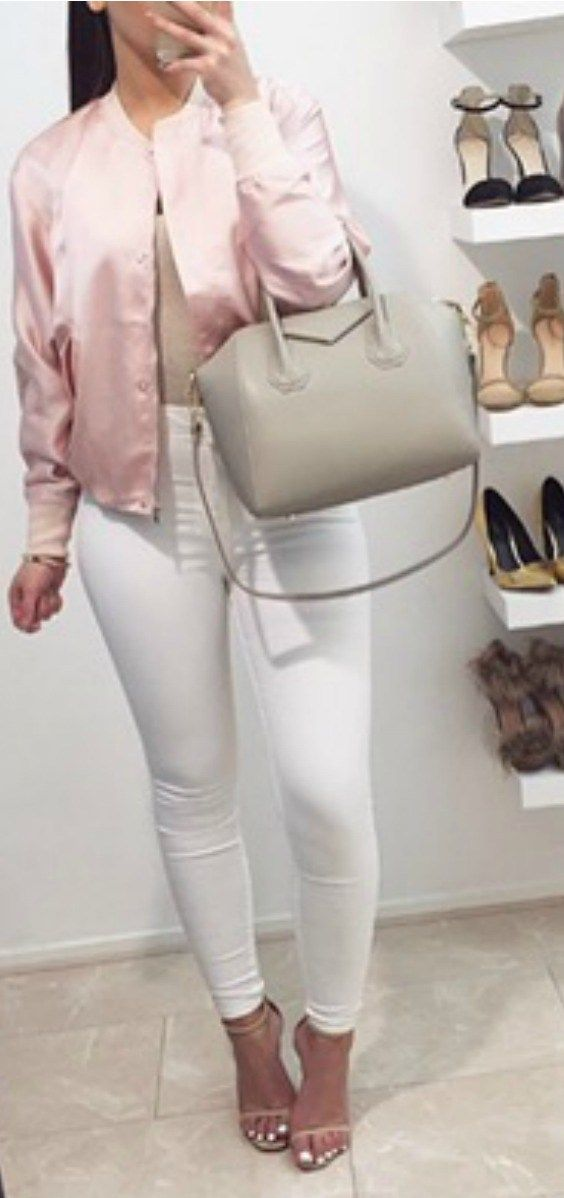 I love these fall winter outfit ideas that anyone can wear teen girls or women. The ultimate fall fashion guide for high school or college. Cute simple look with white skinny jeans, pink satin bomber jacket, white Givenchy bag and sandals.