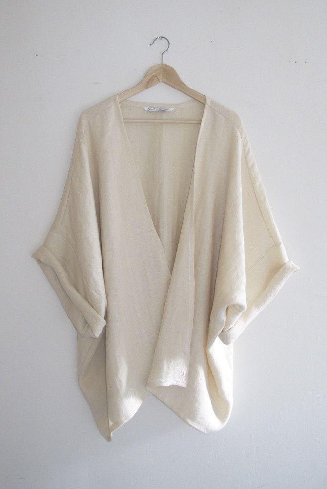 Bohemian Ivory Woven Herringbone Kimono Cardigan + Made in the USA