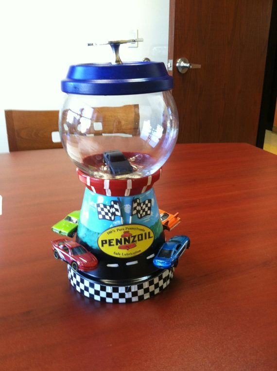 Hand Painted Terracotta, Clay Pot (3 Gallon Fish Bowl on a Hand Painted Pedestal) Race cars on Etsy, $45.99