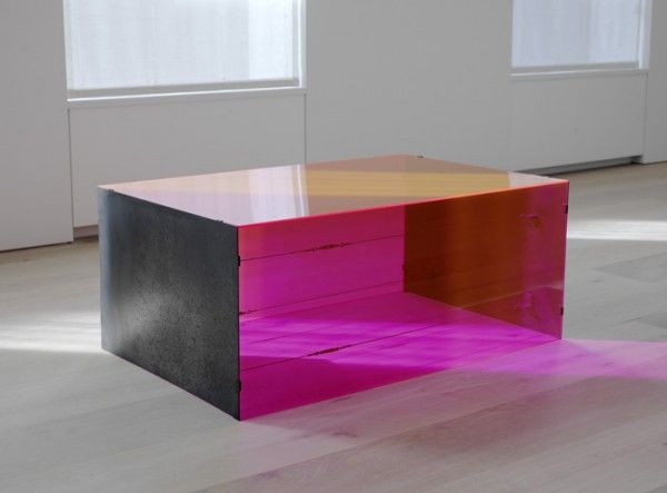 Donald Judd - untitled - 1965 - red fluorescent plexiglas and stainless steel - courtesy of David Zwirner