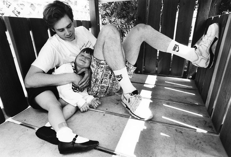This completely adorable photo of Jim Carrey making his daughter Jane smile in 1991. | 26 Famous People From History Like You've Never Seen Before