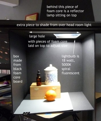 Still life setup in shadow box. Great idea for consistent light source!