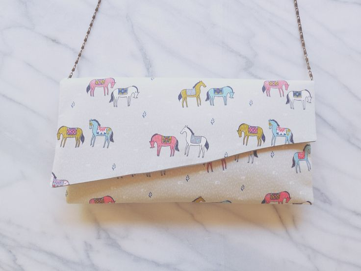 Pochette Handmade made in France Montpellier Horses chevaux  clutch bag handbag Patterns fabrics Japon