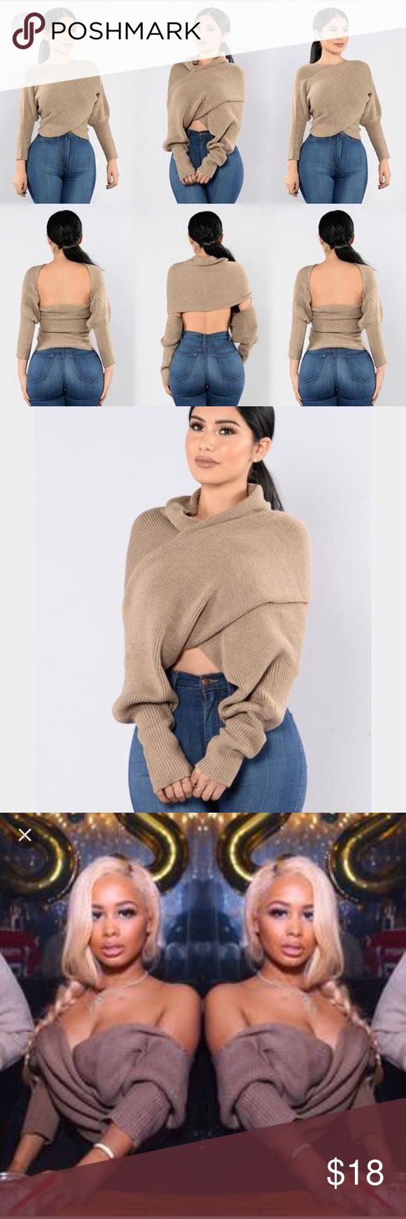 MULTI WEAR WRAP SWEATER you can wear this cross cross sweater in multiple fashionable ways! BRAND NEW WITH TAGS. Purchased from fashion Nova. Really stylish and versatile, Fashion Nova Sweaters
