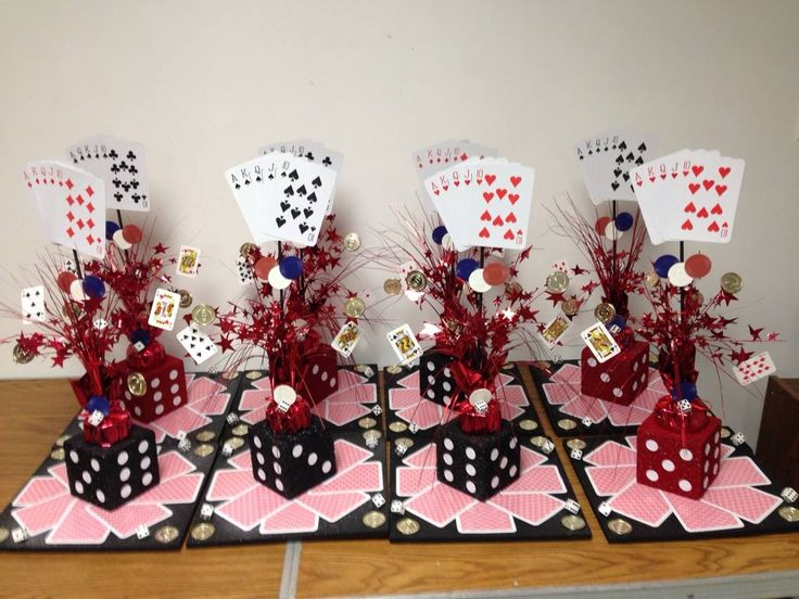 CASINO THEMED CENTERPIECES I made these for under $10